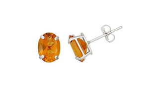 2.00 Cttw Oval Genuine Citrine Studs