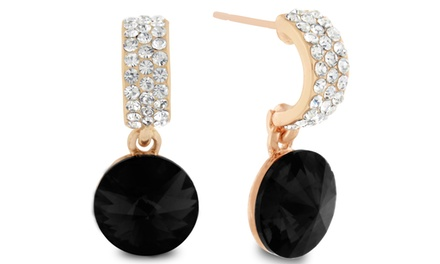 Dangle Earrings with Black Onyx Swarovski Elements