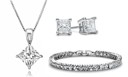 Brincos, brincos e colar, pulseira ou conjunto Princess com Swarovski Elements desde 5,99€ (até -91%) com envio gratuito