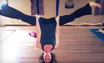5 Aerial-Yoga Classes or 10 Group-Fitness Classes at Reaching Treetops Yoga (Up to 57% Off)