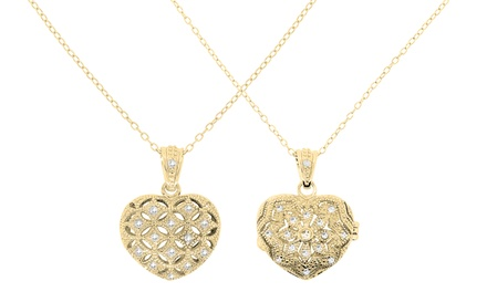 Crystal Heart Locket Pendants with Swarovski Elements