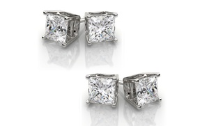 One Or Two Pairs Of 2.50 Cttw Genuine White Topaz Studs