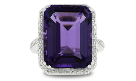 13 CTTW Genuine Emerald-Cut Amethyst and Diamond Accent Ring in Sterling Silver