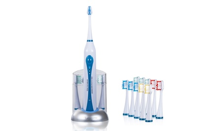 Ultrasonic Toothbrush with Dock Charger and 10 Brush Heads