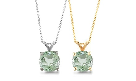 1.0 CTW Genuine Green Amethyst Pendant Necklace in Sterling Silver