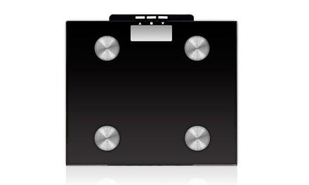 Balança digital preta com medição de massa muscular e óssea por 24,90€