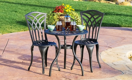 3-Piece Outdoor Cast-Iron Aluminum Bistro Set