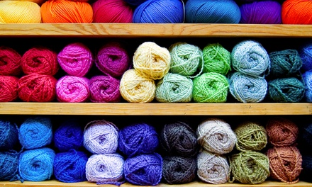 Knitting and Crochet Classes, Yarn, and Craft Supplies (Up to 50% Off). Three Options Available.
