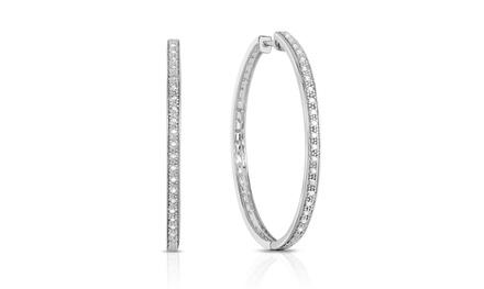 1/4 CTTW Diamond Hoop Earrings in Sterling Silver