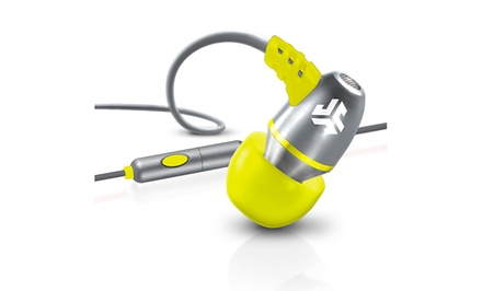 groupon daily deal - JLab JBuds J5M Metal Earbud Headphones with Universal Mic. Multiple Colours Available.