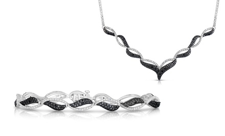 1/4 CTTW Black & White Necklace or Bracelet
