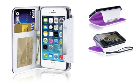 groupon daily deal - Faux-Leather Wallet Case for iPhone 4 or 5. Multiple Colors Available.