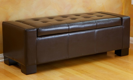 Tufted Bonded Leather Storage-Bench Ottoman