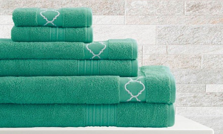 6-Piece Embroidered Egyptian-Cotton Towel Sets