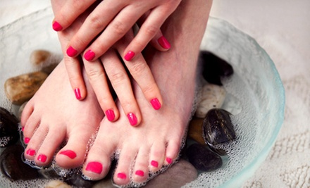 One or Three 60-Minute Express Mani-Pedis at Serenity Aesthetics Laser & Advanced Skin Care (Up to 60% Off)