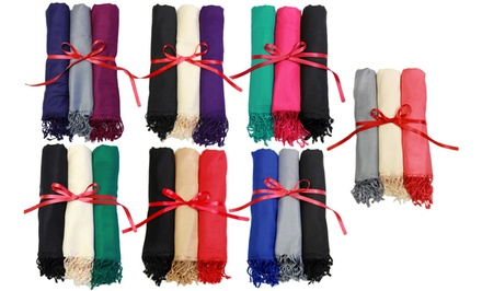 Set of Three In Things Pashmina Scarves. Multiple Styles Available. Free Returns.