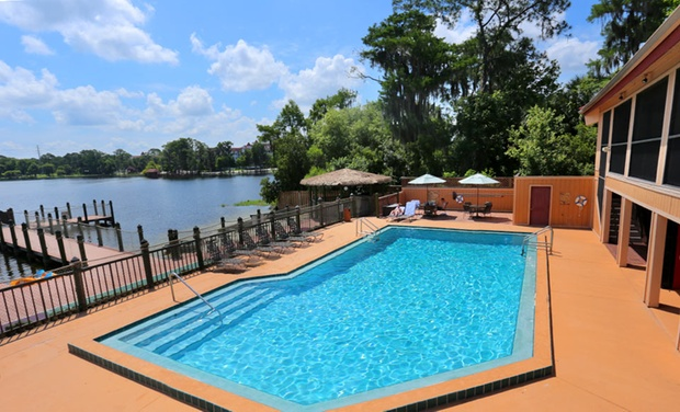 TripAlertz wants you to check out 2-Night Stay for Six with Gator Park Passes at Bryan's Spanish Cove in Orlando  Lakefront Villas in Orlando - Orlando Villas