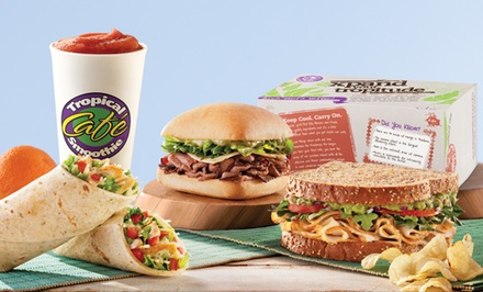 $12 for Two Groupons, Each Good for $9 Worth of Food and Smoothies at Tropical Smoothie Cafe ($18 Value)
