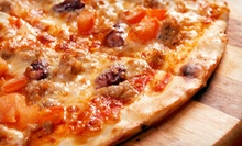 One Large Pizza with Optional Salad and Mozzarella Sticks or Garlic Knots at Domenick's Pizzeria (Up to 53% Off)