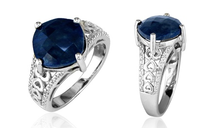 7.00 CTTW Cushion-Cut Sapphire and Diamond Ring in Sterling Silver