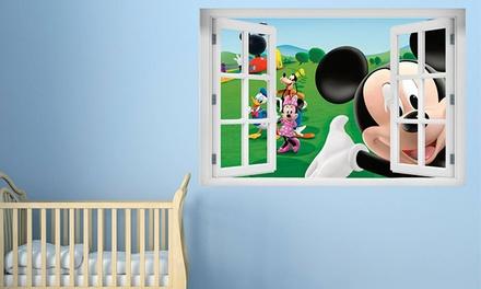 Vinil decorativo em forma de janela 3D com cartoons por 19,99€
