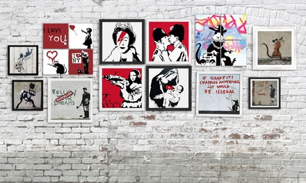 Banksy Framed Canvas Prints from Graff.io (Up to 85% Off). Four Options Available.