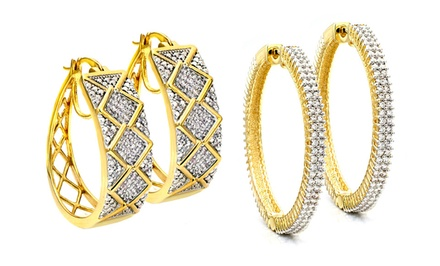 1.00 CTTW Diamond Hoop Earrings