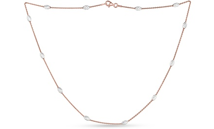 Rose-Gold-Plated Chain with Diamond-Cut Accents in Sterling Silver