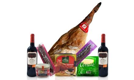 Cesta com produtos gourmet disponível em quatro conjuntos diferentes desde 49,90 €