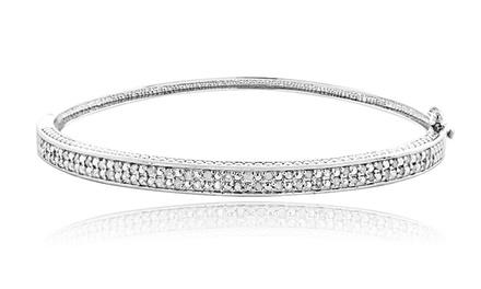 1/2 CTTW Diamond Silver Tone Bangle Bracelet