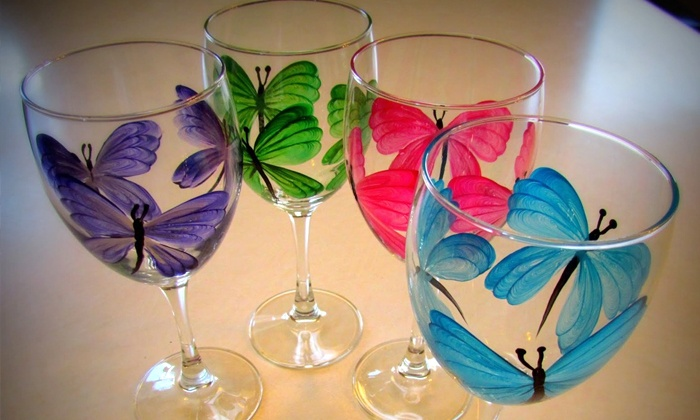 Wine glass painting class for one two or four at the painted glass