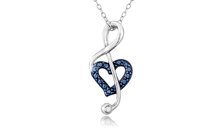Musical Note Blue Diamond Accent Pendant in Sterling Silver