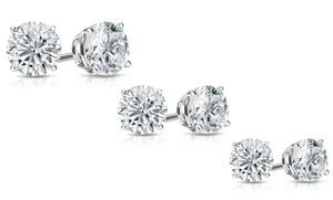 3 Pairs Of Sterling Silver Cubic Zirconia Stud Earrings