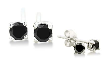 1/4 CTW Black Diamond Stud Earrings in Sterling Silver