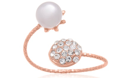 Pearl and Pave Crystal Bangle Ring in 18K Rose Gold Overlay