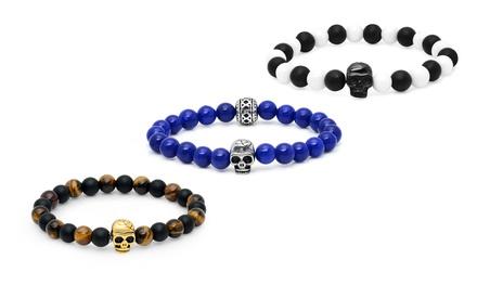 Men's Beaded Stretch Skull Bracelet