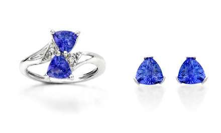 Genuine Tanzanite and Sterling Silver Ring or Earrings