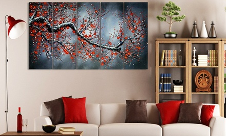 Gallery-Wrapped and Hand-Painted Multipanel Textured Oil Paintings on Canvas