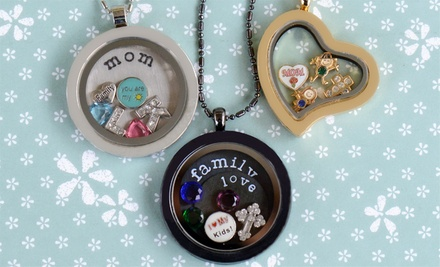 Heart- or Round-Locket Necklace or Bracelet with Two Charms from Stamp the Moment (58% Off)