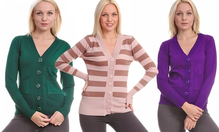 Women's Button-Down V-Neck Sweaters