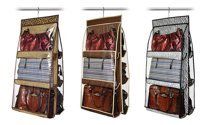Hanging 6 purse closet organizer groupon - Closet organizer for purses ...