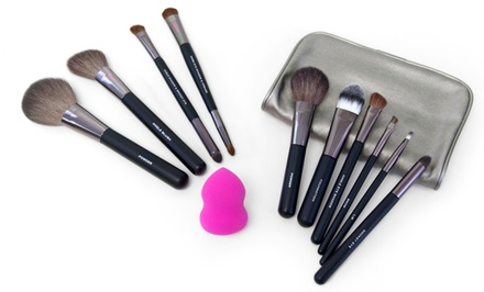 12-Piece Professional Cosmetic Brush and Applicator Set with Travel Wrap