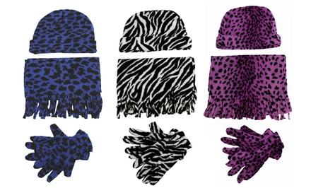 Women's Fleece Hat, Gloves, and Scarf Set