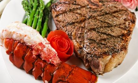 Surf 'n' Turf Dinner with Wine for Two or Four at Portofino Restaurant (Up to 67% Off). Four Options Available.