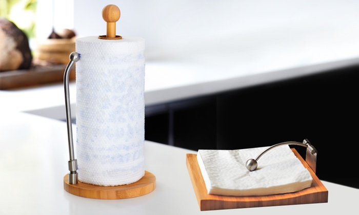 Bamboo Paper Towel And Napkin Holder Set Deal Of The Day