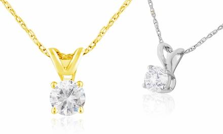 1/4-Carat Diamond Pendant Necklace in 14-Karat White or Yellow Gold