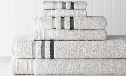 100% Egyptian Cotton 6-Piece Ombre-Striped Towel Set