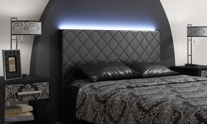 T te de lit avec led int gr e groupon shopping - Eclairage tete de lit led ...