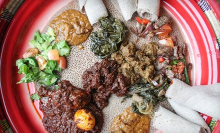 Ethiopian Food at Habesha Restaurant &amp; Bar (Half Off). Two Options Available.