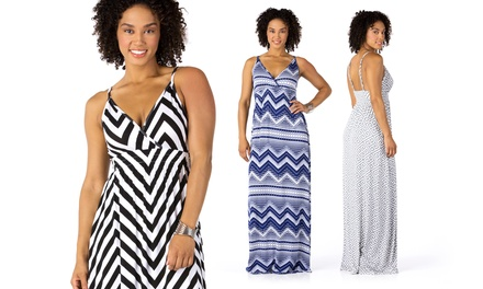 Sociology Print V-Neck Empire-Waist Maxi Dresses